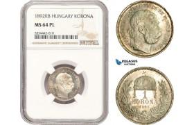 AD874, Hungary, Franz Joseph, 1 Korona 1892-KB, Kremnitz, Silver, NGC MS64PL, Pop 1/0, Rare!