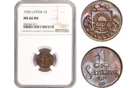 AD877, Latvia, 1 Santims 1935, NGC MS66BN, Pop 1/0