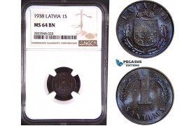AD878, Latvia, 1 Santims 1938, NGC MS64BN