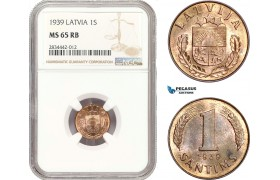 AD879, Latvia, 1 Santims 1939, NGC MS65RB