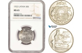 AD880, Latvia, 50 Santimi 1922, NGC MS65, Top Pop!