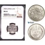 AD881, Latvia, 1 Lats 1924, Silver, NGC MS63