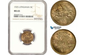 AD883, Lithuania, 5 Centai 1925, NGC MS65