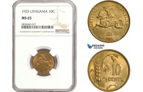 AD884, Lithuania, 10 Centu 1925, NGC MS65, Top Pop!