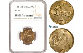 AD885, Lithuania, 20 Centu 1925, NGC MS65