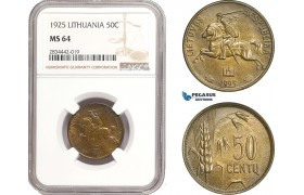 AD886, Lithuania, 50 Centu 1925, NGC MS64