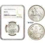 AD887, Lithuania, 5 Litai 1925, Silver, NGC AU55
