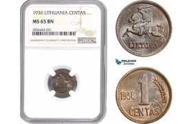 AD888, Lithuania, 1 Centas 1936, NGC MS65BN