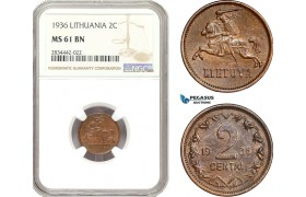 AD889, Lithuania, 2 Centai 1936, NGC MS61BN