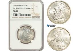 "AD890, Lithuania, 5 Litai 1936, Silver ""Dr. Jonas Basanavicius"" NGC MS63"