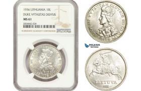 "AD891, Lithuania, 10 Litu 1936, Silver ""Duke Vytautas Didysis"" NGC MS61"