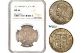 AD892, Mauritius, George V, 1 Rupee 1934, Silver, NGC MS64