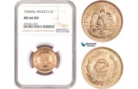 AD894, Mexico, 2 Centavos 1906-Mo, Mexico City, NGC MS66RD, Pop 1/0