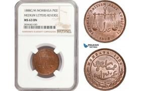 "AD896, Mombasa, Pice 1888 C/M ""Medium Letters Reverse"" NGC MS63BN"