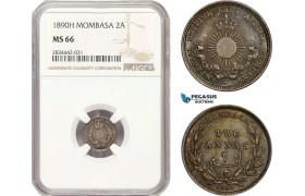 AD897, Mombasa, 2 Annas 1890-H, Heaton, Silver, NGC MS66