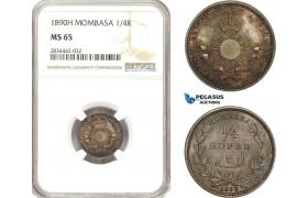 AD898, Mombasa, 1/4 Rupee 1890-H, Heaton, Silver, NGC MS65