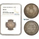 AD899, Mombasa, 1/2 Rupee 1890-H, Heaton, Silver, NGC MS64