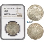 AD900, Morocco, Abdul Aziz, 1/2 Rial AH1323-PA, Paris, Silver, NGC MS63, Top Pop!