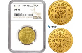AD901, Nepal, Prithvi Bir Bikram, Tola SE1831 (1909) Gold, NGC MS65, Pop 1/0
