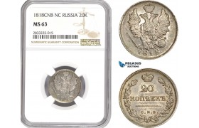 AD904, Russia, Alexander I, 20 Kopeks 1818 СПБ-ПС, St. Petersburg, Silver, NGC MS63