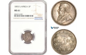AD911, South Africa (ZAR) Threepence (3P) 1893, Pretoria, Silver, NGC MS61