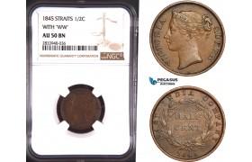 AD912, Straits Settlements, Victoria, 1/2 Cent 1845