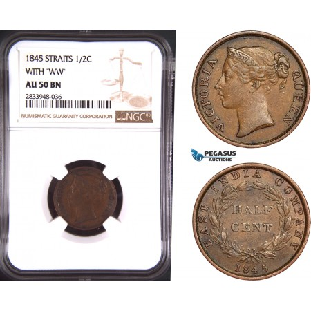 "AD912, Straits Settlements, Victoria, 1/2 Cent 1845 ""With WW"" NGC AU50BN"