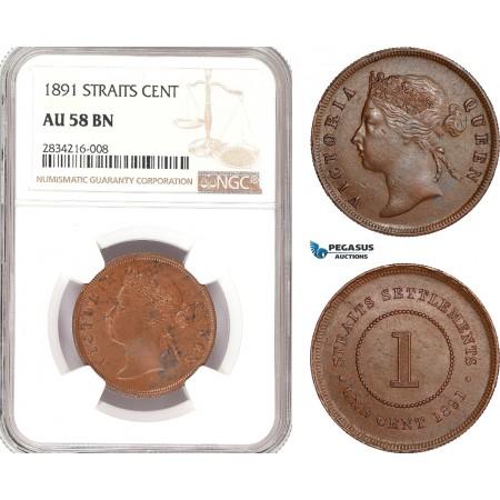 AD915, Straits Settlements, Victoria, 1 Cent 1891, NGC AU58BN