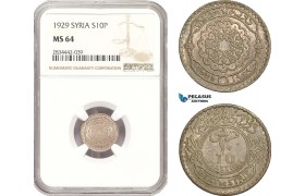 AD918, Syria, French Mandate, 10 Piastres 1929, Silver, NGC MS64