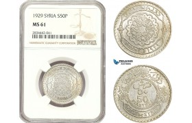 AD920, Syria, French Mandate, 50 Piastres 1929, Silver, NGC MS61