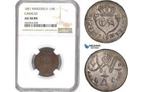 AD922, Venezuela, Caracas, 1/4 Real 1821, NGC AU58BN