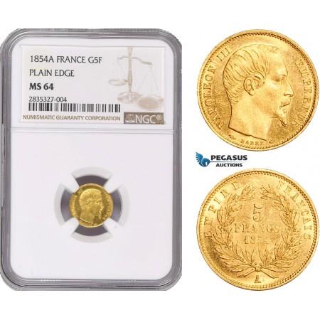 "AD924, France, Napoleon III, 5 Francs 1854-A, Paris, Gold ""Plain Edge"" NGC MS64"