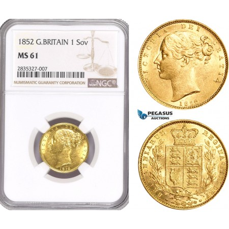 AD926, Great Britain, Victoria, 1 Sovereign 1852, London, Gold, NGC MS61