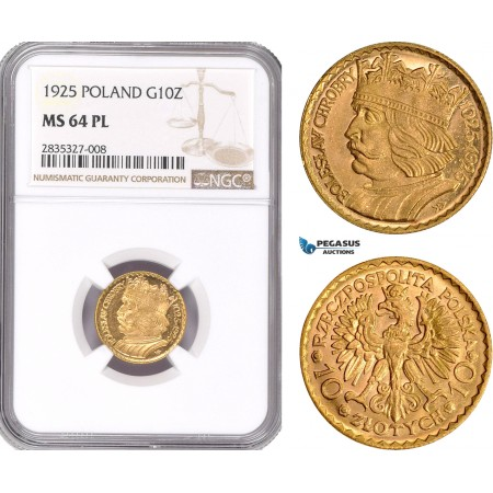 AD927, Poland, 10 Zlotych 1925 (Boleslaw) Warsaw, Gold, NGC MS64PL
