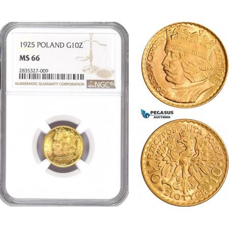 AD928, Poland, 10 Zlotych 1925 (Boleslaw) Warsaw, Gold, NGC MS66