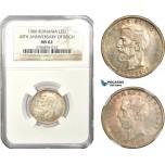 AD930, Romania, Carol I, 1 Leu 1906, Brussels, Silver