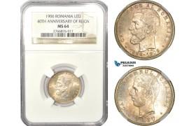 "AD931, Romania, Carol I, 1 Leu 1906, Brussels, Silver ""40th Anniversary"" NGC MS64"