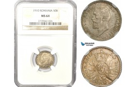 AD932, Romania, Carol I, 50 Bani 1910, Silver, NGC MS64