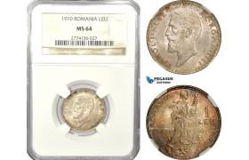 AD933, Romania, Carol I, 1 Leu 1910, Silver, NGC MS64