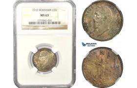 AD934, Romania, Carol I, 1 Leu 1910, Silver, NGC MS63