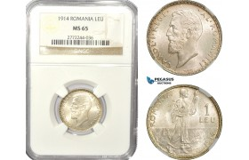 AD935, Romania, Carol I, 1 Leu 1914, Silver, NGC MS65