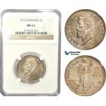 AD936, Romania, Carol I, 2 Lei 1912, Silver, NGC MS61