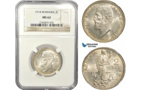 AD937, Romania, Carol I, 2 Lei 1914, Silver, NGC MS62