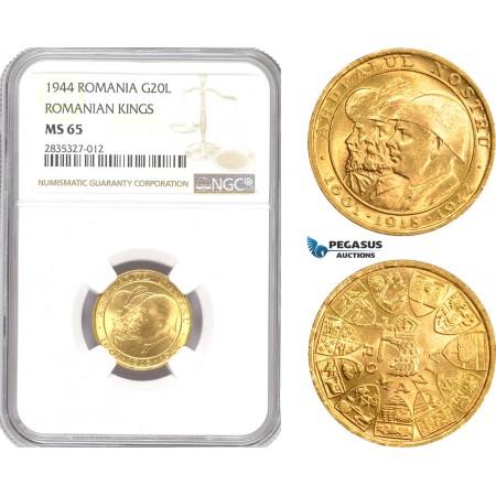 "AD939, Romania, Mihai I, ""Ardealul Nostru"" 20 Lei 1944, Gold, NGC MS65"