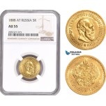 AD941, Russia, Alexander III, 5 Roubles 1888, St. Petersburg, Gold, NGC AU55