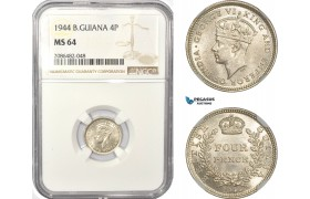 AD944, British Guiana, George VI, Fourpence (4P) 1944, Silver, NGC MS64