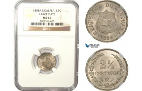 AD948, Dominican Republic, 2 1/2 Centavos 1888-A, Paris, Large Date, NGC MS65