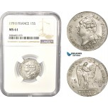 AD950, France, Louis XVI, 15 Sols 1791-I, Limoges, Silver, NGC MS61, Pop 1/2