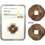 AD953, French Cochin-China, 2 Sapeque 1879-A, Paris, NGC MS65BN