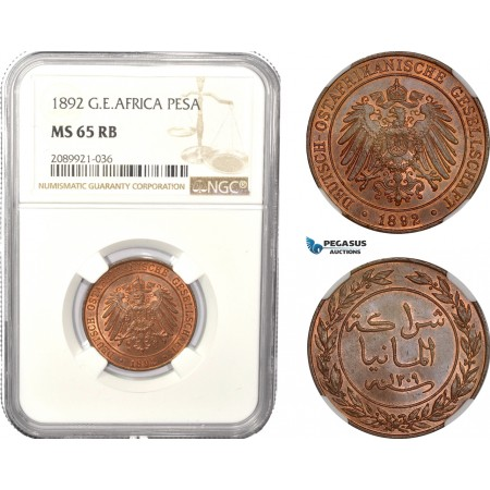 AD956, German East Africa (DOA) Pesa 1892, Berlin, NGC MS65RB
